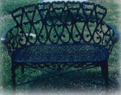 cast aluminum hearts design settee