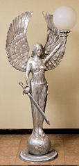 angel statue with sword and light 72 inches tall
