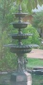 cast aluminum four tier swan fountain with hex base