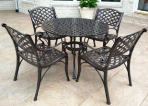 wrought iron and cast aluminum patio furniture
