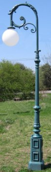 cast aluminum balboa single lamp post with arm down