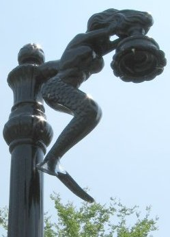 Single Mermaid Lamp On Poseidon Light Post